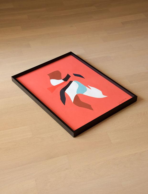 Man; Abstract; Geometric; Hunter; Interior; Frame; Painting; Gouache; Illustration