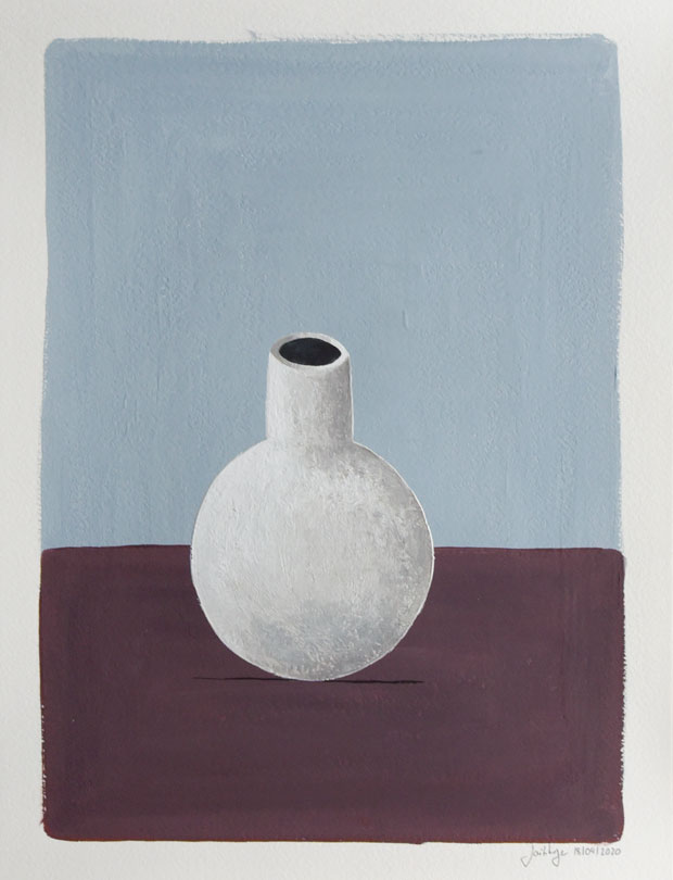 Flowers; Porcelain; Alone; Vase; Flowers; Interior; Art; Painting; Gouache; Illustration