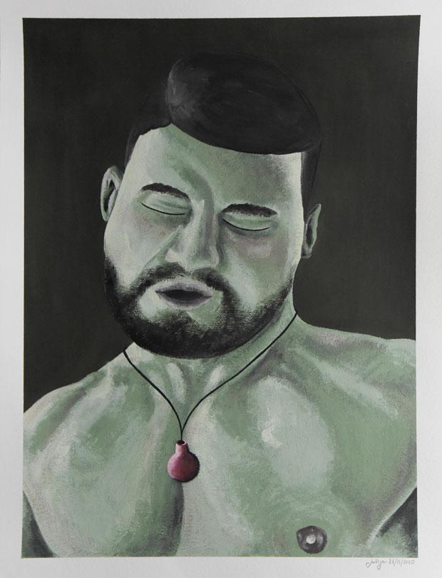 Black Eyed; Man; Guy; Alone; Vase; Flowers; Interior; Art; Painting; Gouache; Illustration