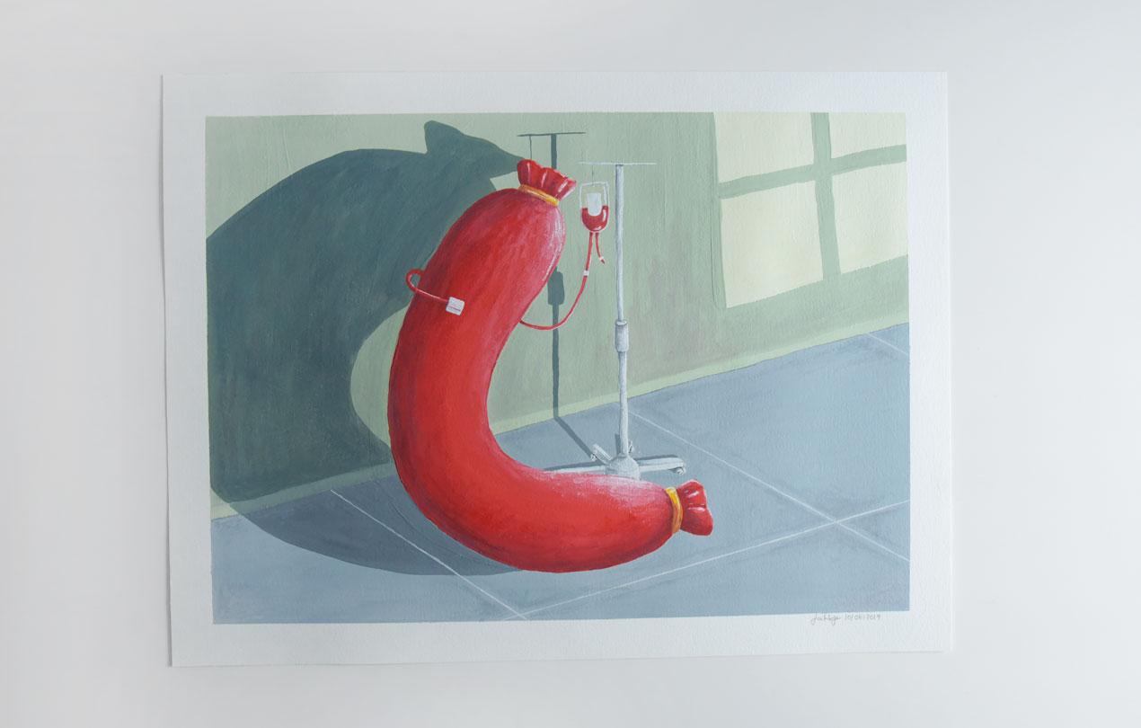 Last Day; Last; Day; Alone; Vase; Flowers; Interior; Art; Painting; Gouache; Illustration; Sausage