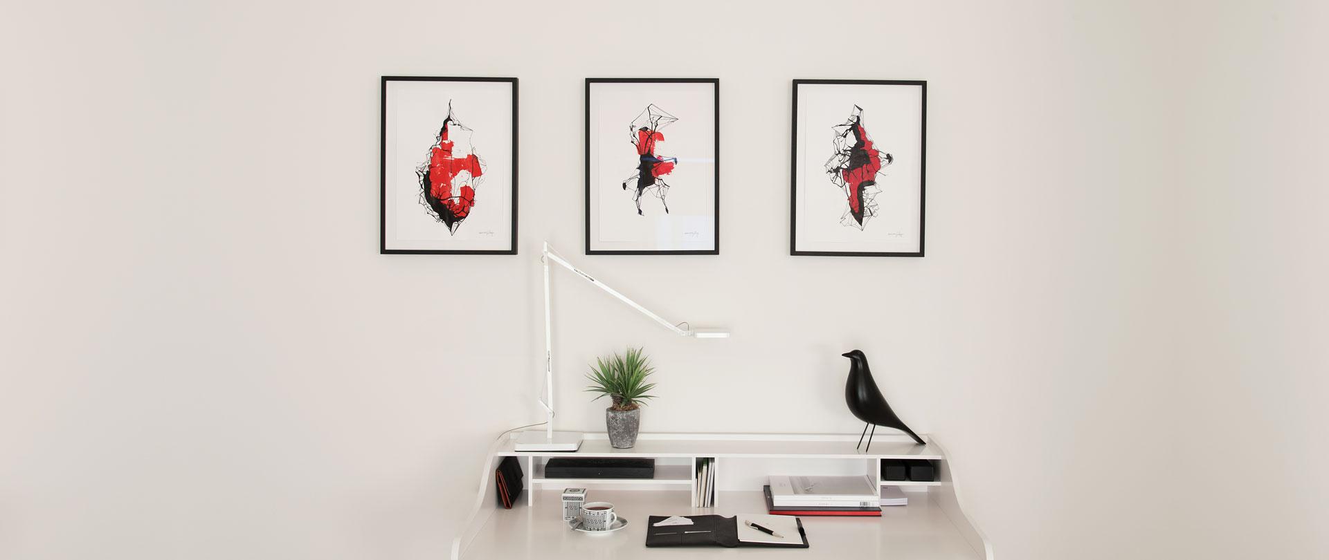 Abstract; Geometric; Frame; Interior; Desk; Lamp; Vitra; Lignet Roset; Living Room; Painting; Acrylic; Ink; Paper; Illustration