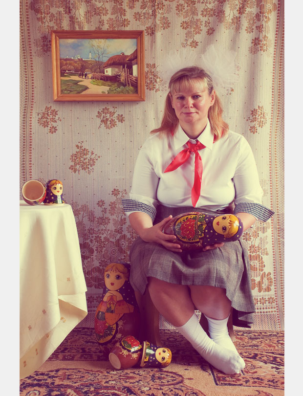 Photography; Family Album; Family; Album; pioneer; old photo; Colour crossing; Matryoshka; Матрёшка; Woman; Girl; Childhood; Ukraine; Painting; Soviet; Portrait