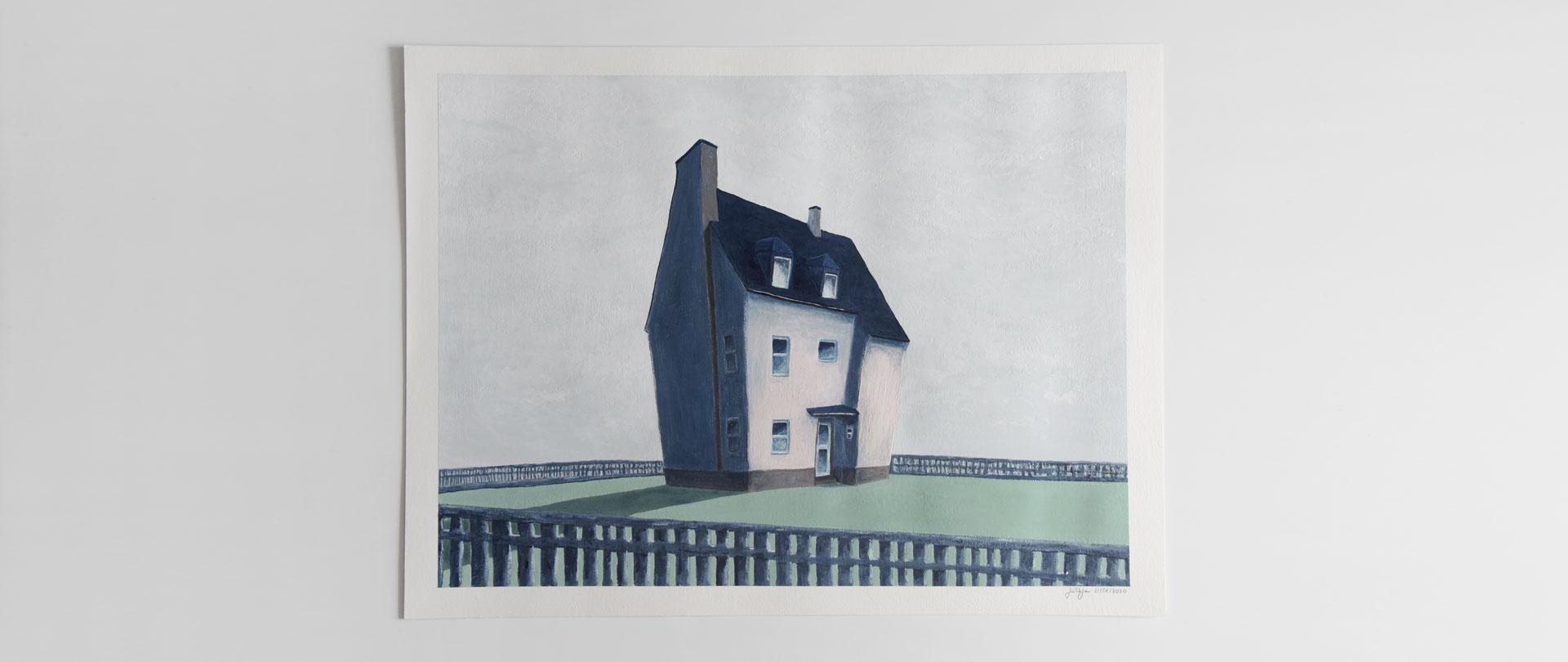 Home; House; Garden; Sky; Alone; Painting; Gouache; Illustration